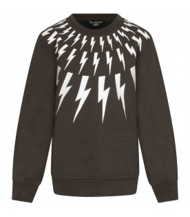 Green sweat-shirt for boy with thunders
