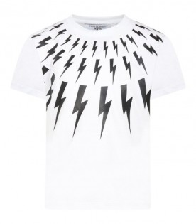 White t-shirt for boy with thunders
