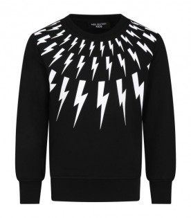 Black sweat-shirt for boy with thunders