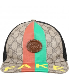 Beige hat for kids with Web detail