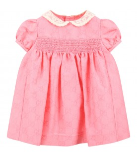 Pink dress for babygirl with double GG