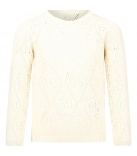 Ivory sweater for girl with double GG