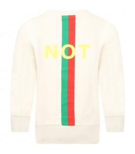 Ivory sweatshirt for kids with Web detail