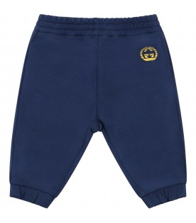 Blue sweatpant for babykids with double GG