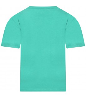 Green T-shirt for kids with logos