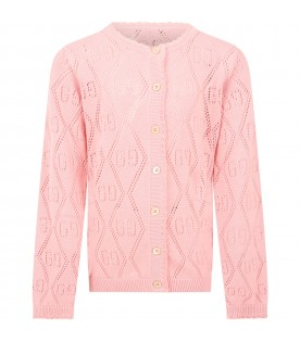 Pink cardigan for girl with double GG