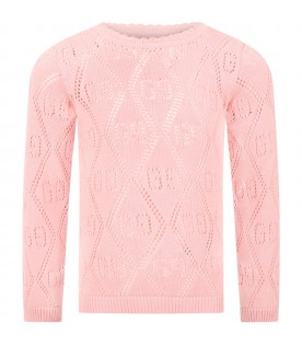 Pink sweater for girl with double GG