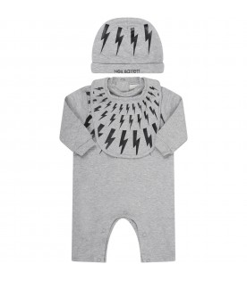 Grey set for babyboy with thunders