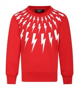 Red sweat-shirt for boy with thunders