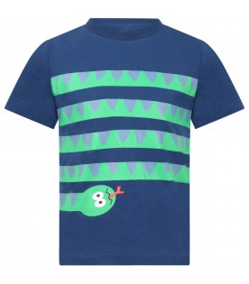 Blue T-shirt for boy with snake