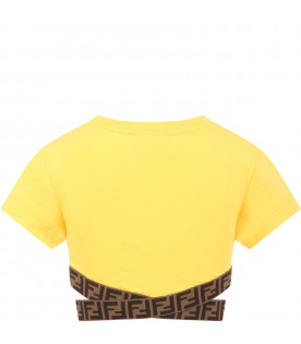 Yellow T-shirt for girl with double FF