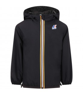 Black windbreaker for kids with double FF