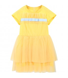 Yellow dress for girl with bow