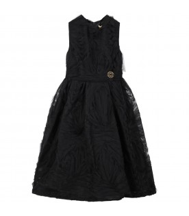 Black dress for girl with iconic logo