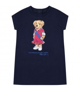 Blue dress for babygirl with bear