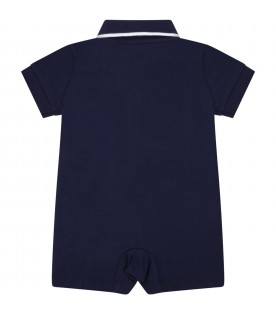 Blue rompers for babyboy with pony logo
