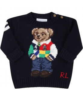 Blue sweater for babyboy with bear
