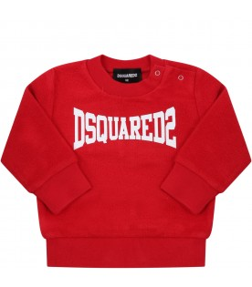 Red sweatshirt for babyboy with logo