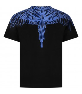 Black t-shirt for boy with iconic wings