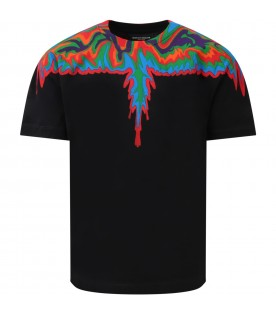Black t-shirt for boy with abstract wings