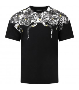 Black t-shirt for boy with snakes