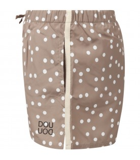 Beige swimshort for kids with polka--dots