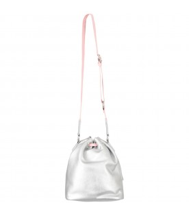 Silver bucket bag for girl