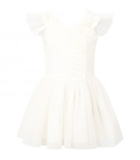 White dress for girl with butterflay