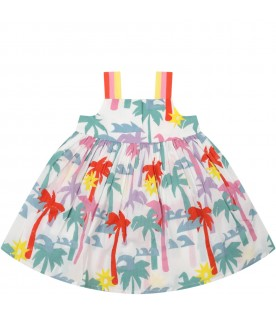 White dress for babygirl with palm trees
