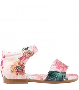 Multicolor sandals for girl with camellias
