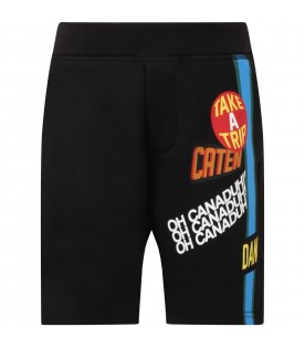 Black short for boy with writing