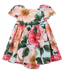 Multicolor dress for babygirl with camellias