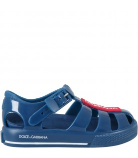 Blue sandals for boy with logo