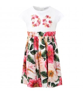 Multicolor dress for girl with camellias