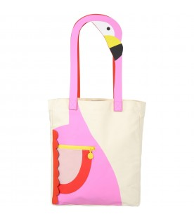Ivory bag for girl with flamingo