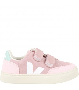 Pink sneakers for girl with white logo