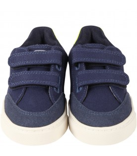 Blue sneakers for kids with white logo