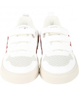 White sneakers for kids with red logo