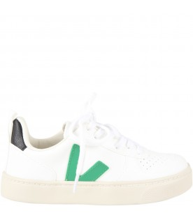 White sneakers for kids with green logo