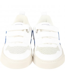 White sneakers for kids with blue logo