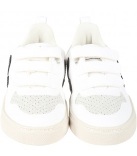 White sneakers for kids with black logo