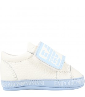 White sneakers for babyboy with logo