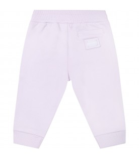Lilac sweatpants for babygirl with logo