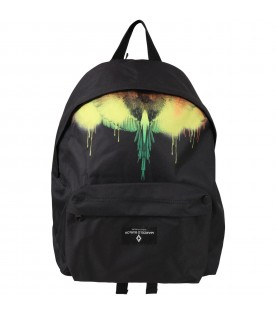 Black backpack for kids with iconic wings
