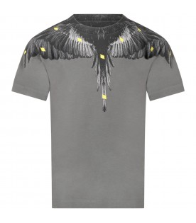 Gray t-shirt for boy with iconic wings