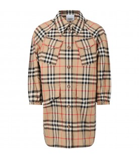 Beige chemisier for girl with vintage checks