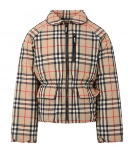 Beige jacket for girl with vintage checks
