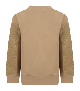 Beige sweatshirt for kids with logos