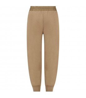 Beige trouser for kids with logos
