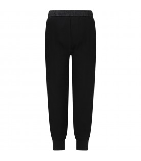 Black trouser for kids with logos